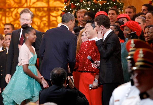 Obama and Psy Shake Hands