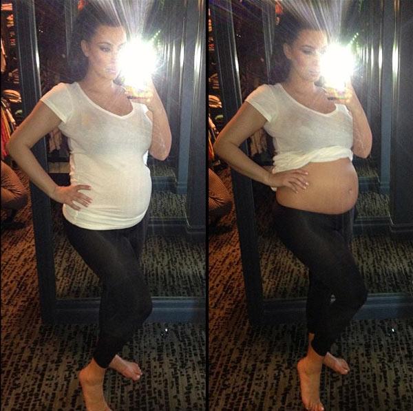 Kim Kardashian's Bare Bump — Pregnant Star Reveals Growing ...