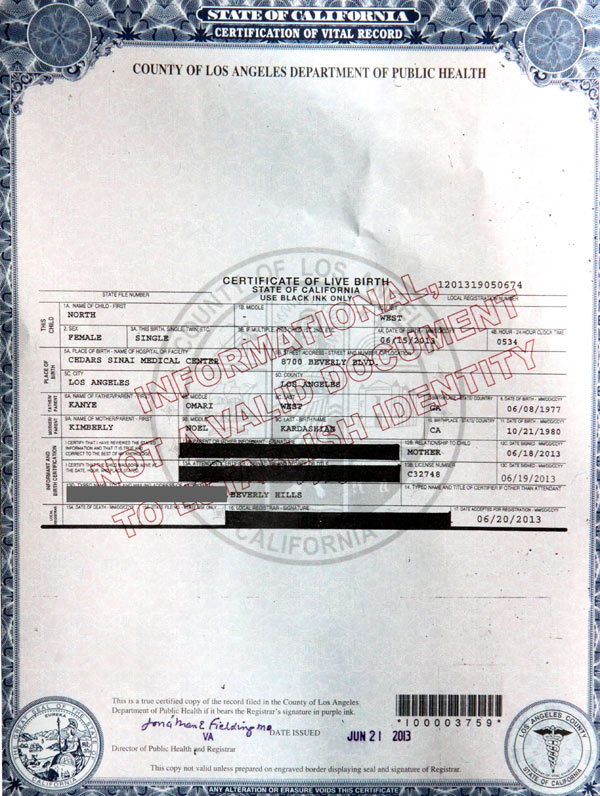 Kim Kardashian Birth Certificate