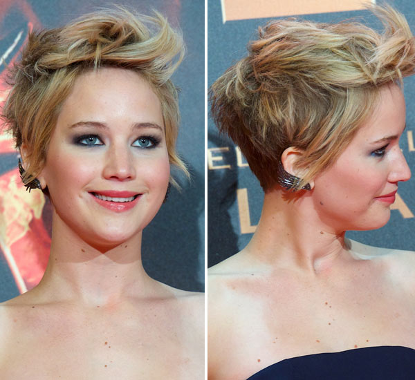 Pics Jennifer Lawrence S Pixie Cut Messy In Madrid Pretty Premiere Hair Hollywood Life