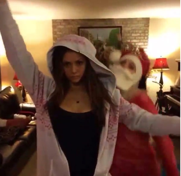 Nina Dobrev Ex Derek Hough Have A Holiday Dance Off Watch Hollywood Life