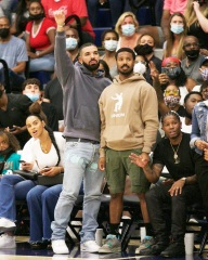 Chatsworth, CA  - Drake & Michael B Jordan step out to support Bronny James, Amari Bailey & the Sierra Canyon Varsity Basketball squad play their last basketball game of the season. Drake shows a lot of emotion during the game; smiling, yelling frantically at the refs and cheering his boys as they fall short to be eliminated from the regional playoffs. Interestingly enough Drake made his feeling known in the form of fashion as he donned jeans with 'Fuck You' printed near his crotch. At the end of the game, he shows love to Amari Bailey who had a stellar season.  Pictured: Drake, Michael B. Jordan, Bronny James, Amari Bailey, Savannah James  BACKGRID USA 17 JUNE 2021  BYLINE MUST READ: ShotbyNYP / BACKGRID  USA: +1 310 798 9111 / usasales@backgrid.com  UK: +44 208 344 2007 / uksales@backgrid.com  *UK Clients - Pictures Containing Children Please Pixelate Face Prior To Publication*
