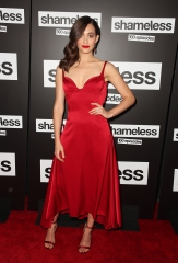 Emmy Rossum 'Shameless' TV Show, 100th episode red carpet celebration, Arrivals, Los Angeles, USA - 09 Jun 2018 WEARING PAULE KA SHOES BY CHLOE GOSSELIN