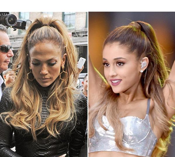 Jennifer Lopez Steals Ariana Grande High Ponytail Hairstyle