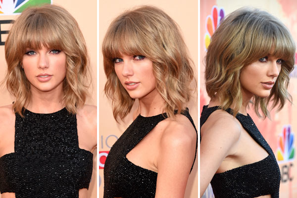 Pics Taylor Swift S Iheartradio Awards Hair Makeup Wavy Bob Bangs Hollywood Life