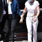 Venice, ITALY - *EXCLUSIVE* - Actress Kristen Stewart pictured hand in hand with her girlfriend Dylan Meyer as they are seen arriving in Venice to attend the 2021 Venice Film Festival. Kristen Stewart's Spencer, about three days in the life of Princess Diana, Princess of Wales is set to premiere at the Venice Film Festival. The actress was dressed casually in white jeans and a t-shirt that accentuated her new strawberry hair color. Pictured: Kristen Stewart - Dylan Meyer BACKGRID USA 2 SEPTEMBER 2021 BYLINE MUST READ: Cobra Team / BACKGRID USA: +1 310 798 9111 / usasales@backgrid.com UK: +44 208 344 2007 / uksales@backgrid.com *UK Clients - Pictures Containing Children Please Pixelate Face Prior To Publication*