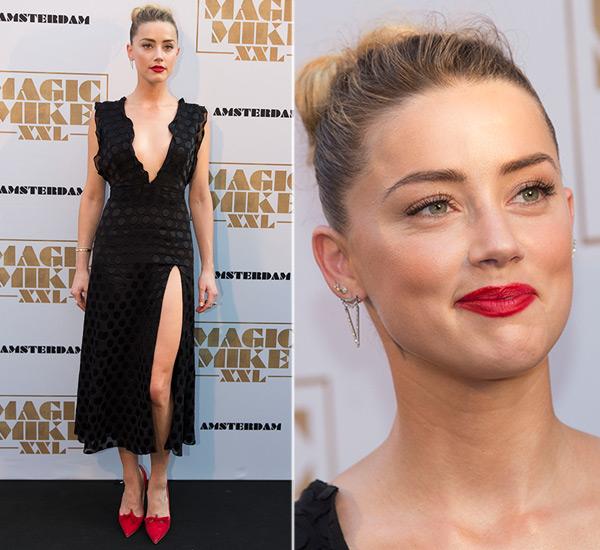 Amber Heard red lips magic mike xxl