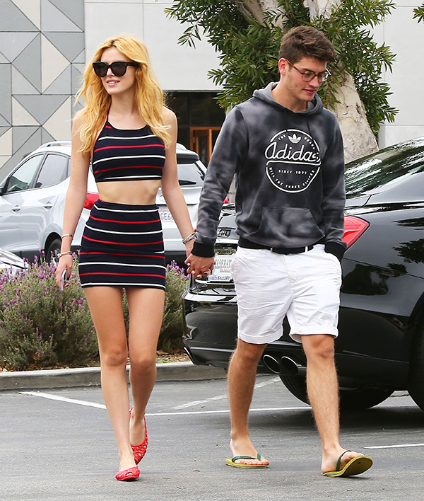 Bella Thorne Striped Outfit