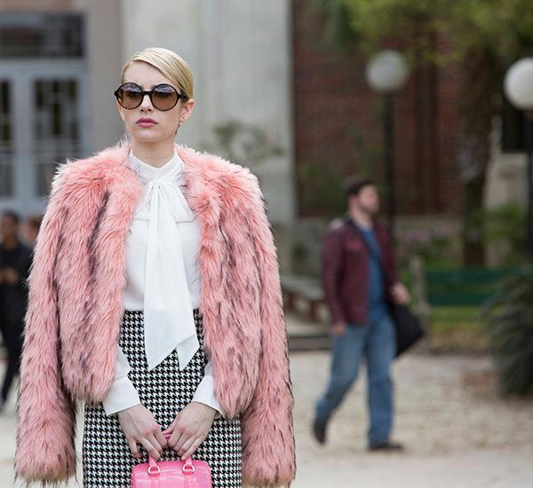 emma roberts faux fur coat scream queens