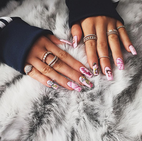 Kylie Jenner Pink Barbie Nails