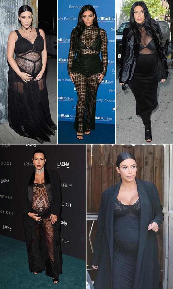 Kim Kardashians Sheer Maternity Outfits