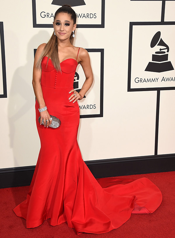 photos ariana grande s dress at grammys 2016 floor length red gown hollywood life ariana grande s dress at grammys 2016
