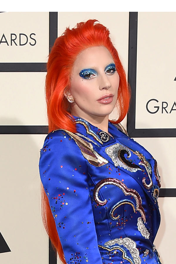 Lady Gaga S Grammys Hair Makeup See Her Bowie Inspired Beauty Looks Hollywood Life