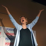Democratic presidential candidate Sen. Elizabeth Warren, D-Mass., addresses a crowd before a campaign rally, in Salt Lake City Election 2020 Warren Public Lands, Salt Lake City, USA - 17 Apr 2019