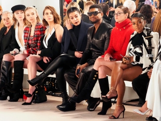 (L-R) Ashley Benson, Jenn Goicoechea, Usher, Shailene Woodley and Janelle Monae attending the Balmain show as part of the Paris Fashion Week Womenswear Fall/Winter 2020/2021 on February 28, 2020 in Paris, France. (Sipa via AP Images)