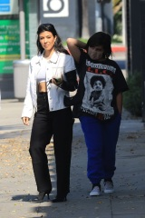 *EXCLUSIVE* West Hollywood, CA  - Kourtney Kardashian is spotted hanging out with her ex Luka Sabbat and Fai Khadra as she takes her son Mason out for a juice drink at Cha Cha Matcha in West Hollywood.  Pictured: Kourtney Kardashian, Mason Disick, Fai Khadra, Luka Sabbat  BACKGRID USA 7 MAY 2021  USA: +1 310 798 9111 / usasales@backgrid.com  UK: +44 208 344 2007 / uksales@backgrid.com  *UK Clients - Pictures Containing Children Please Pixelate Face Prior To Publication*