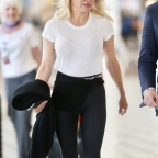 *EXCLUSIVE* Pamela Anderson arrives ready for her 'close up' while on the set of an Ultra Tune commercial!