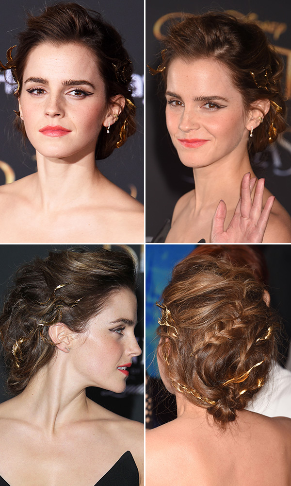 Emma Watson S Updo At Beauty And The Beast Romantic Hair How To Hollywood Life