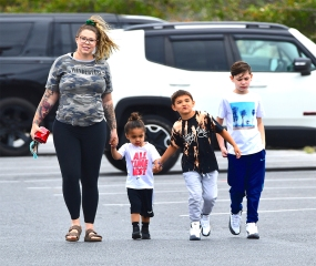 EXCLUSIVE: Pregnant Teen Mom Star Kailyn Lowry was spotted out in Delaware , shopping at Target with her three children . She showed off her baby bump with only a few weeks until the birth. She smiled as she walked into the store. Kaitlyn plans to raise all of her kids as a single mom following a split from her partner. They remained in the store for 20 minutes while the kids picked out water guns, while she bought a large pack of diapers to prepare for the baby's arrival . 10 Jun 2020 Pictured: Kailyn Lowry ,Lux Lowry, Isaac Rivera, Lincoln Marroquin. Photo credit: MEGA TheMegaAgency.com +1 888 505 6342 (Mega Agency TagID: MEGA679366_002.jpg) [Photo via Mega Agency]