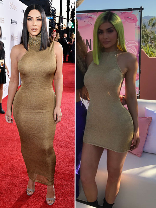 Kylie Jenner Vs Kim Kardashian Gold Dress