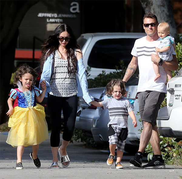 Megan Fox with Brian Austin Green and their three sons Noah, Bodhi, and Journey