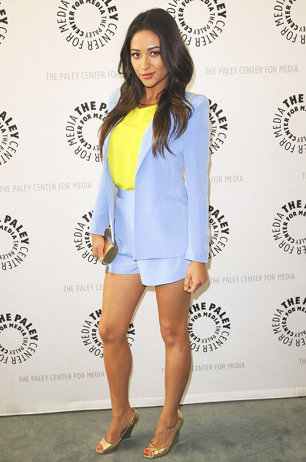 shay mitchell blue shorts suit paley fest outfit