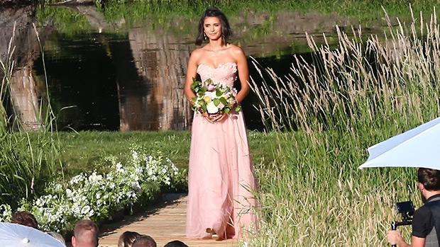 nina dobrev bridesmaid dress pink gown