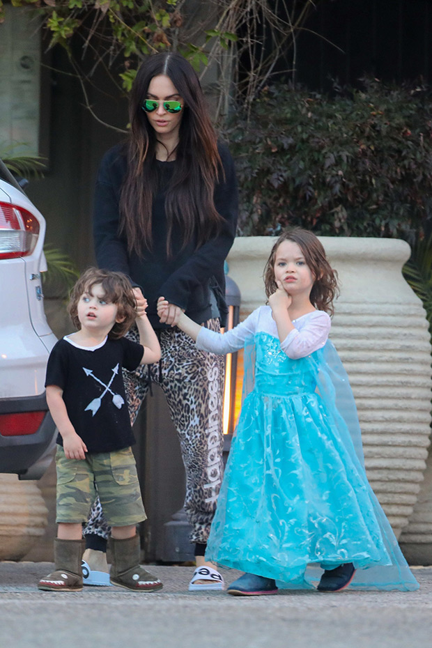 Megan Fox with her son Noah in a dress