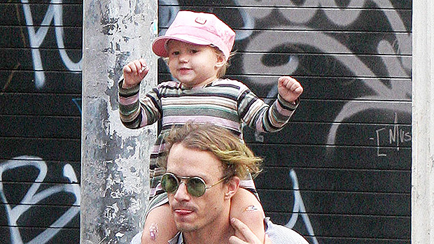Heath Ledger with his baby daughter Matilda