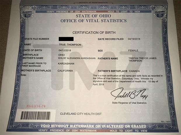 True Thompson's Birth Certificate