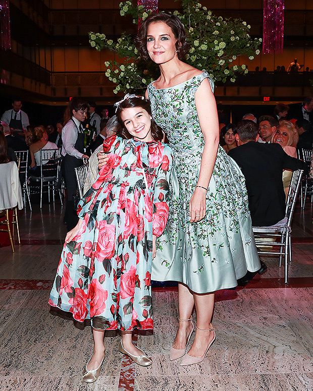 Katie Holmes and Suri Cruise wearing floral dresses in NYC