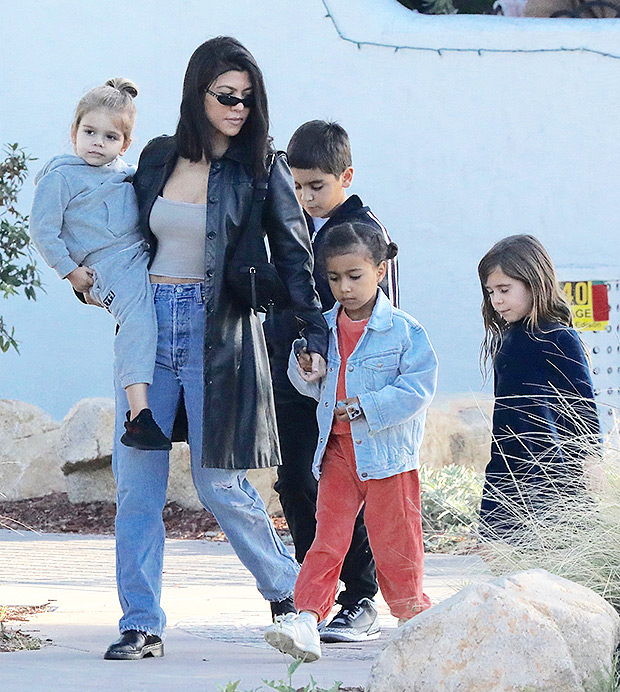 Kourtney Kardashian with her kids and North West on Mother's Day 2018