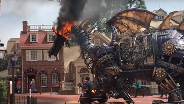Maleficent Dragon Float Catches Fire In Parade