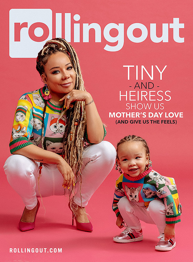 """Tiny and daughter Heiress on the cover of """"Rolling Out"""" magazine"""