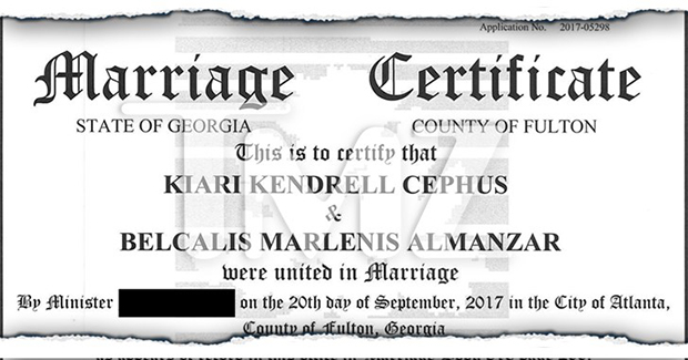 Cardi B & Offset Marriage License