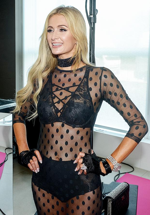 Paris Hilton see-through dress catwalk