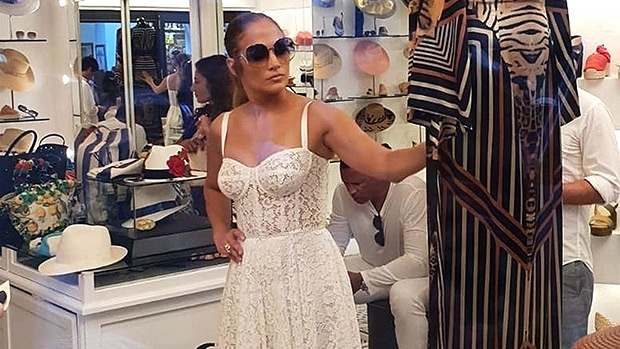 jennifer lopez white lace dress