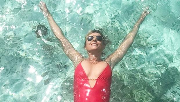 elizabeth hurley red bathing suit