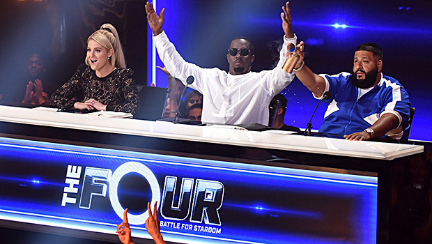 """THE FOUR: BATTLE FOR STARDOM: L-R: Judges Meghan Trainor, Sean """"Diddy"""" Combs and DJ Khaled in the """"The Finale"""" Season Two finale episode of THE FOUR: BATTLE FOR STARDOM airing Thursday, August 2 (8:00-10:00 PM ET/PT) on FOX. CR: Ray Mickshaw / FOX. © 2018 FOX Broadcasting Co."""