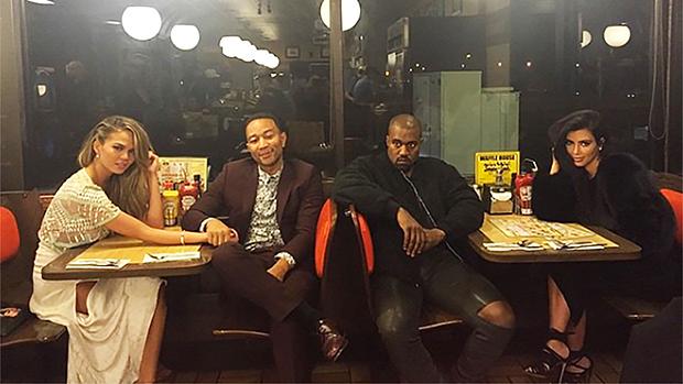 Chrissy Teigen, John Legend, Kim Kardashian & Kanye West Waffle House