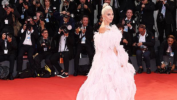 Lady gaga pink feather dress
