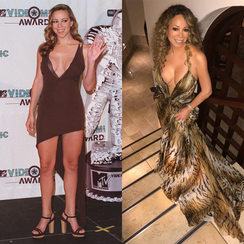 Mariah Carey Cleavage Tiger Dress