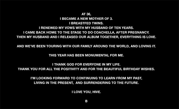Beyonce Message To Fans