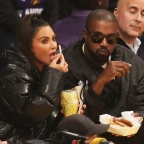 Kim Kardashian And Kanye West Chow Down On Fries And Chicken Tenders As The Attend A Basketball Game Between The Los Angeles Lakers Vs The Cleveland Cavaliers At The Staples Center In Los Angeles, Ca