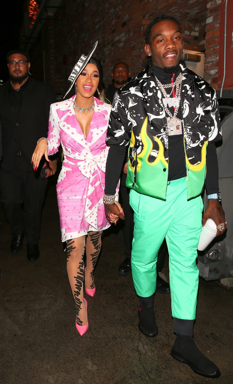 Hollywood, CA - Cardi B celebrates her 26th birthday with Offset with a bash at Beauty & Essex. The pair is hard to miss in their bright outfits as they party it up on a rainy night with close friends and family.Pictured: Cardi B, Offset BACKGRID USA 12 OCTOBER 2018 BYLINE MUST READ: Maciel-Twist / BACKGRID USA: +1 310 798 9111 / usasales@backgrid.com UK: +44 208 344 2007 / uksales@backgrid.com *UK Clients - Pictures Containing Children Please Pixelate Face Prior To Publication*