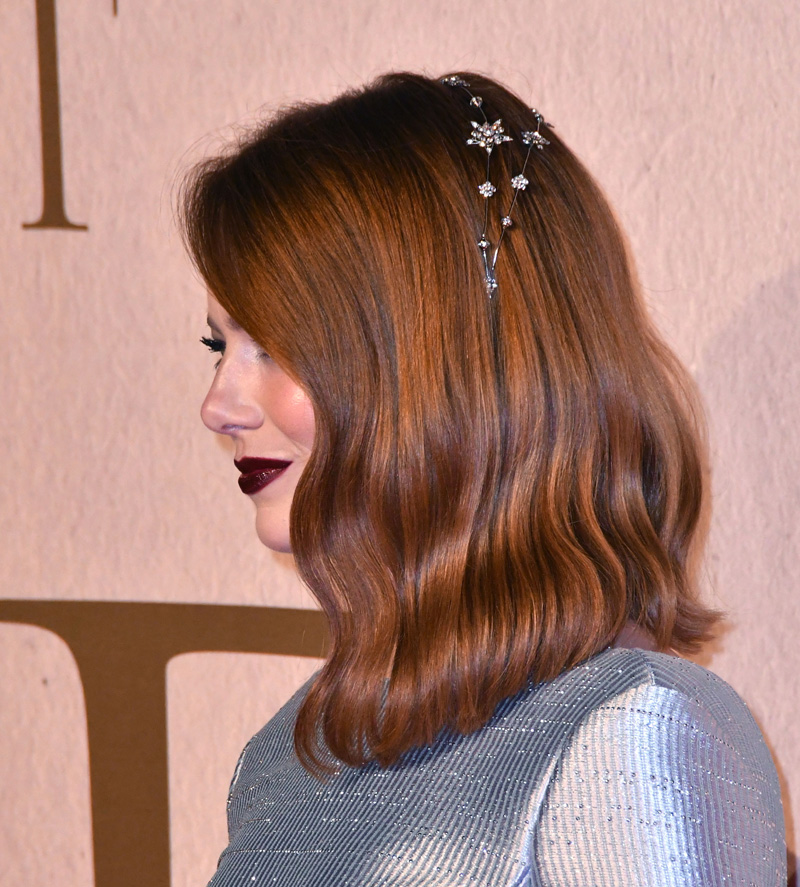 Emma Stone, hair detail'The Favourite' premiere, BFI London Film Festival, UK - 18 Oct 2018 Premiere of comedy-drama set in the court of Queen Anne in early 18th century England, at BFI Southbank, London