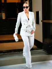 Lady Gaga arrives at Radio City Music Hall in a white pin-striped suit in New York City  Pictured: Lady Gaga Ref: SPL5242983 020821 NON-EXCLUSIVE Picture by: Christopher Peterson / SplashNews.com  Splash News and Pictures USA: +1 310-525-5808 London: +44 (0)20 8126 1009 Berlin: +49 175 3764 166 photodesk@splashnews.com  World Rights