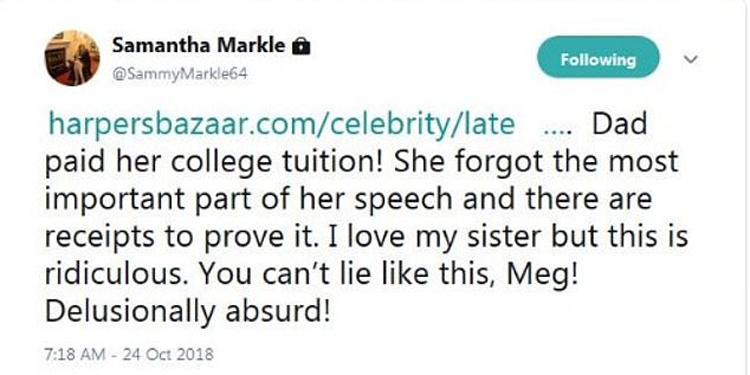 Samantha Markle Tweet