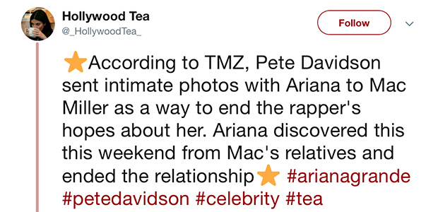 Did Pete Davidson send intimate Ariana pics to Mac Miller?