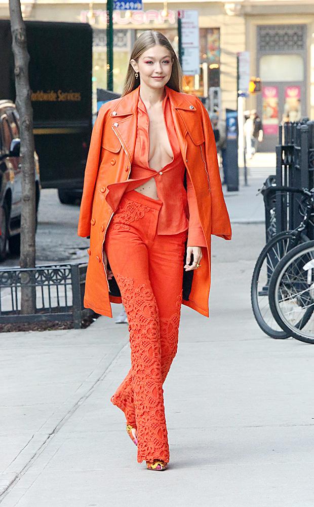 Gigi Hadid suit no shirt